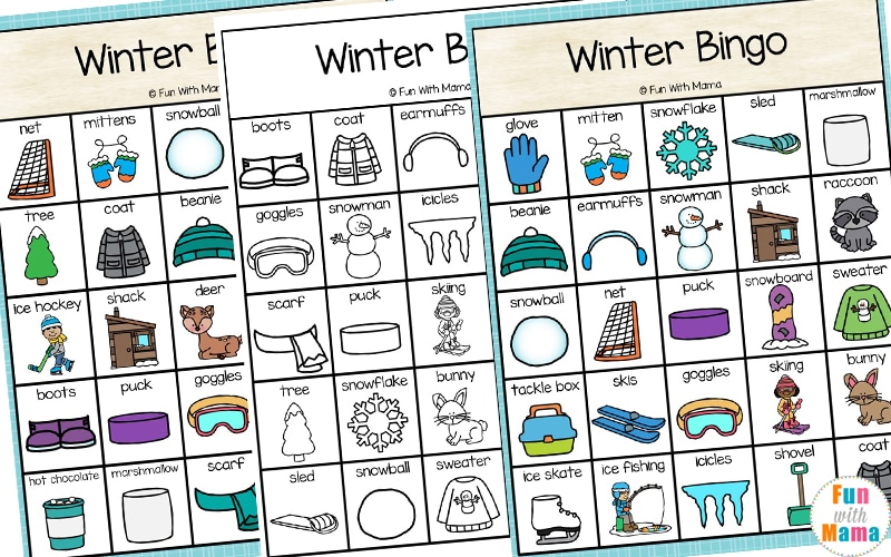 image about Winter Bingo Cards Free Printable titled Winter season Bingo - Enjoyable with Mama