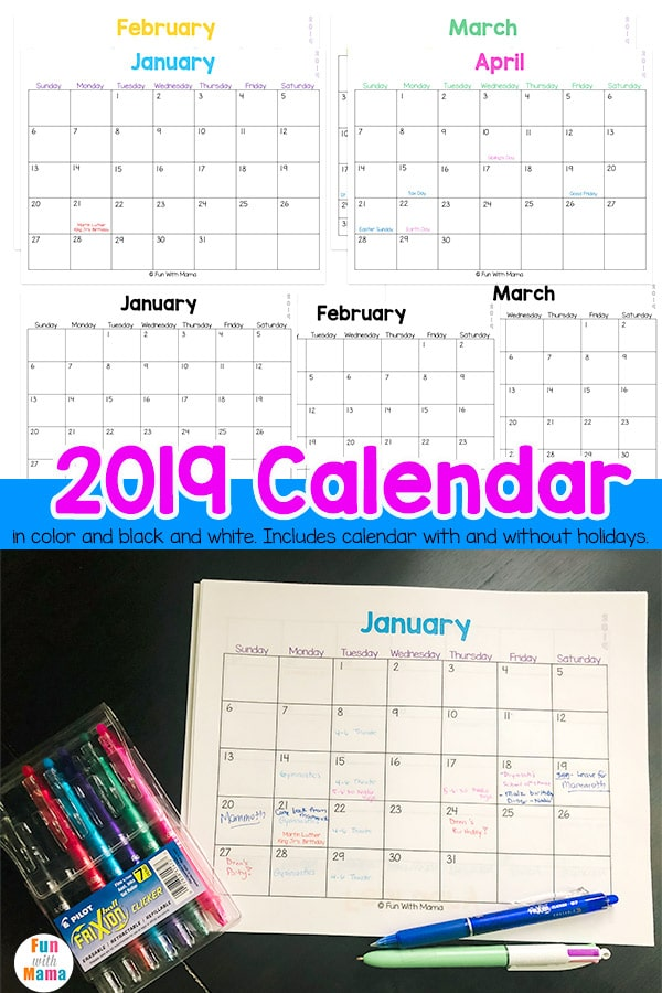 photograph relating to Fun Printable Calendar known as Printable Calendar 2019 With Holiday seasons and Without having - Enjoyable with