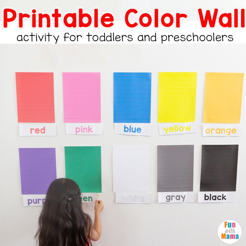 Learn Colors Wall Printable Activity for toddlers and ...