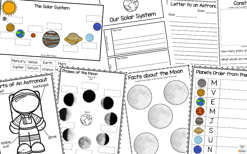 solar system educational printables