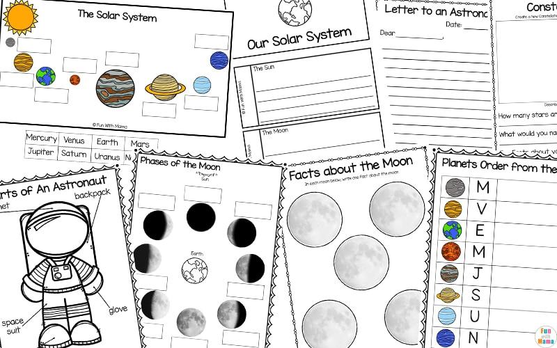 solar system educational printables