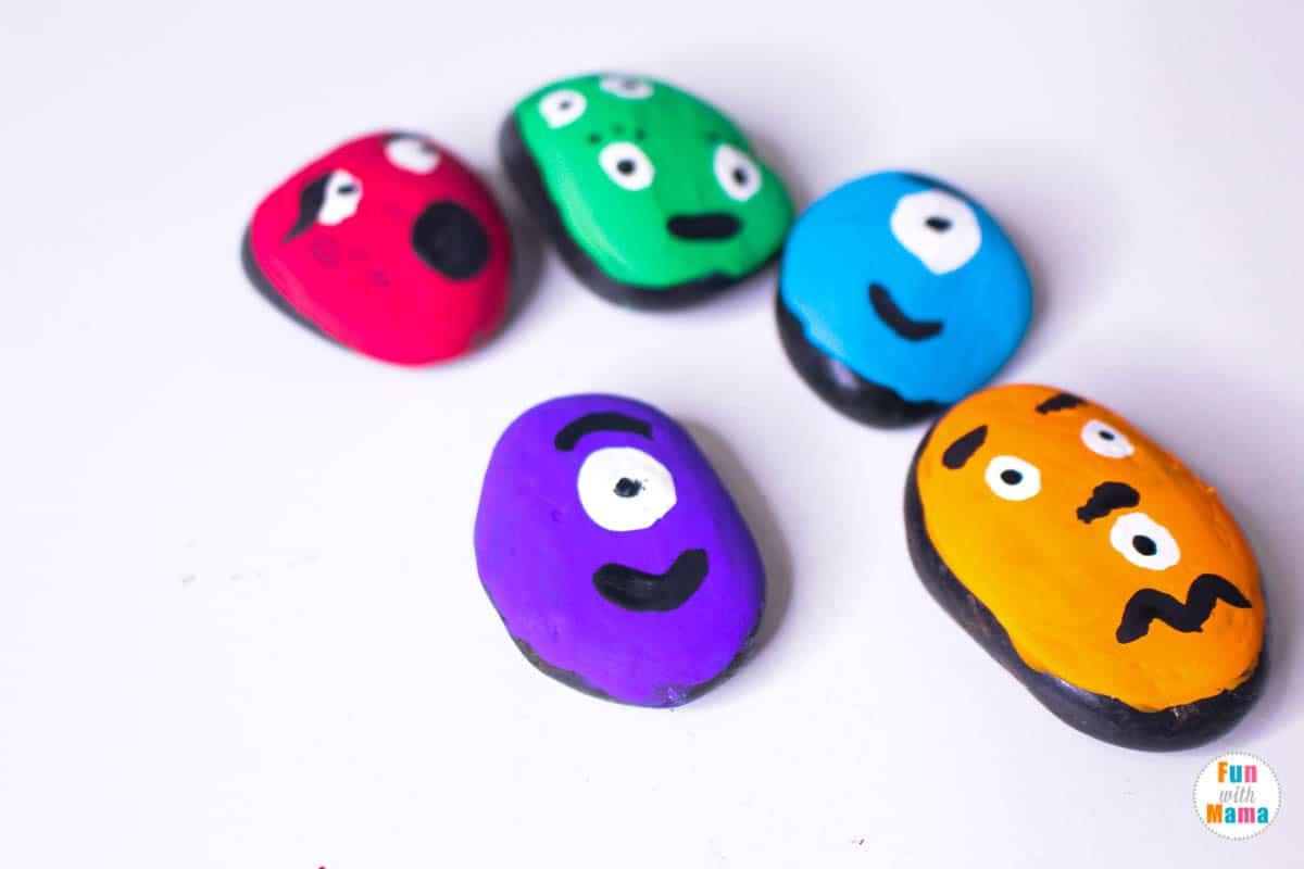 monster painted rock tutorial for kids