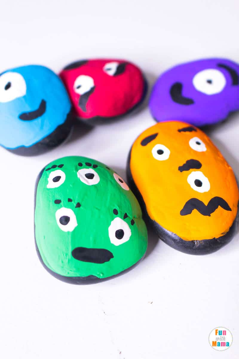 close up of monster painted rocks
