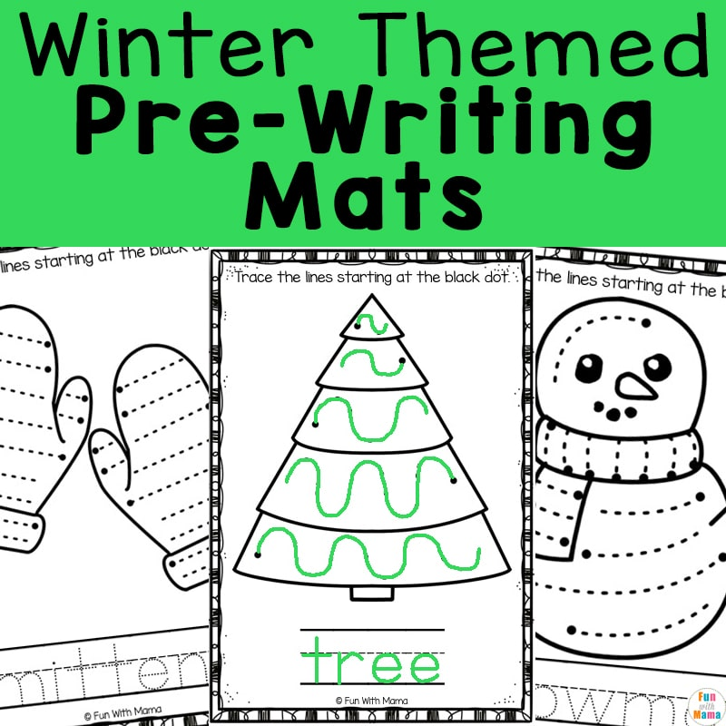 Winter themed pre-writing mats