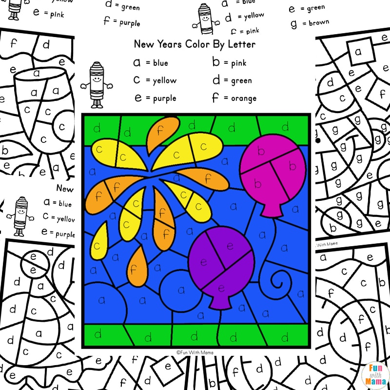 New Years color by letter worksheets