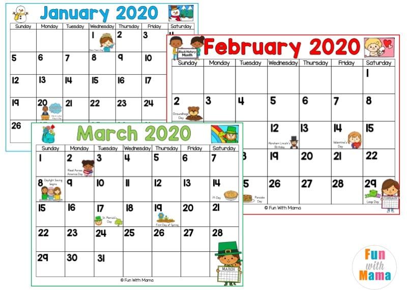 2020 Kids Calendar Printable - Fun with Mama