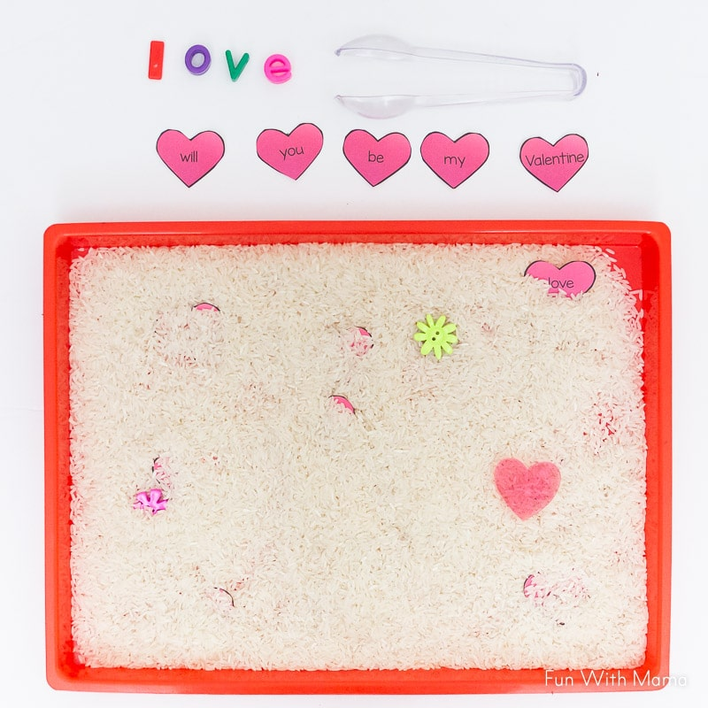 Valentine Sight Word Activity with rice and sensory bin