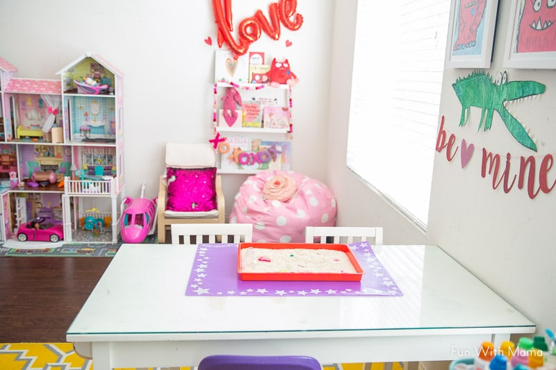 playroom with Valentine Sight Word Activity